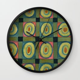 Strong Green Grid filled with Yellow Circles Wall Clock