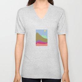 Spring 2021 Pantone Mountain Landscape Art Digital Graphic Print Unisex V-Neck