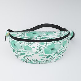 Flower bouquet with poppies - aqua Fanny Pack
