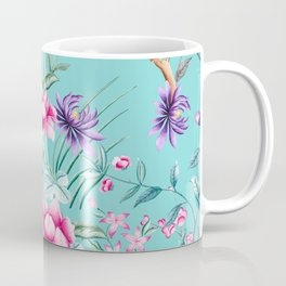 Chinoiserie Decorative Floral Motif Pale Turquoise Coffee Mug