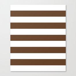 Van Dyke brown - solid color - white stripes pattern Canvas Print