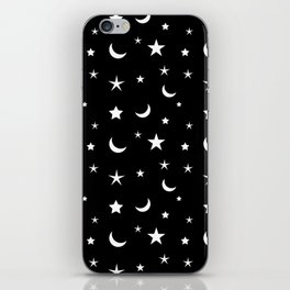Black and White moon and star pattern iPhone Skin