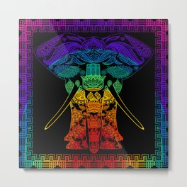 Multi Coloured Patterned Elephant Metal Print