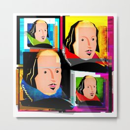 SIR WILLIAM SHAKESPEARE - COLOURFUL, 4-UP POP ART ILLUSTRATION,WITH DIGITAL DISTORTION Metal Print
