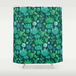 Watercolor succulents and cactus Shower Curtain