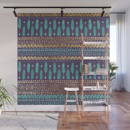 Gold Teal and Purple Arrows Tribal Aztec Pattern Wall Mural