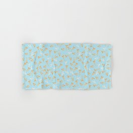 Gold & pearl watercolor leaves on light blu seamless pattern Hand & Bath Towel