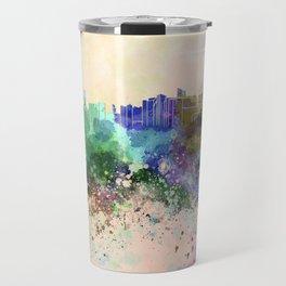 Abu Dhabi skyline in watercolor background Travel Mug