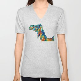 Colorful Camel Art By Sharon Cummings Unisex V-Neck