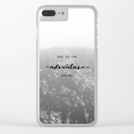 And So The Adventure Begins - Snowy Mountain Clear iPhone Case