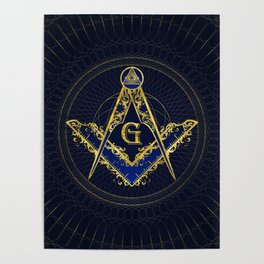 Freemasonry symbol Square and Compasses Poster