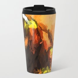 Sitting Cat of Orange and Brown with a Gold Wall Travel Mug