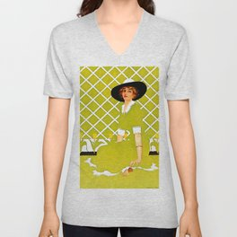 "C Coles Phillips 'Fadeaway Girl' ""In the Garden"" Unisex V-Neck"