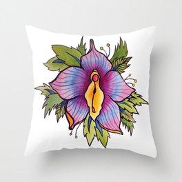 Vulva Flora Throw Pillow