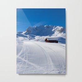 MERIBEL, FRANCE - JANUARY 2018: the white slopes in the Alps. Ski resort of Meribel, France. Sunny Metal Print