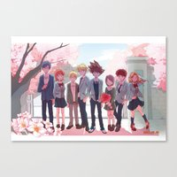 digimon Canvas Prints featuring DIGIMON TRI by luttu