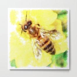 The Pollen Collector Honeybee Watercolor Metal Print