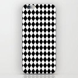Classic Black and White Harlequin Diamond Check iPhone Skin