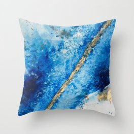 Blue Skies [2]: a pretty, abstract mixed-media piece in blue, gold and white Throw Pillow