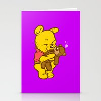 pooh Stationery Cards featuring Pooh And Teddy by Artistic Dyslexia