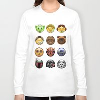 emoji Long Sleeve T-shirts featuring Emoji Wars by Vincent Trinidad