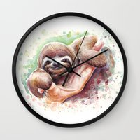 sloth Wall Clocks featuring Sloth by Olechka