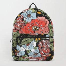 Retro Vintage Floral Arrangement On Black Background Backpack