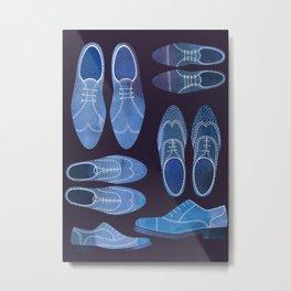 Blue Brogue Shoes for Hipsters & Gentlemen Metal Print