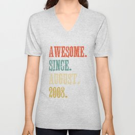 Awesome Since August 2008 10 Year Old Vintage Gift Unisex V-Neck