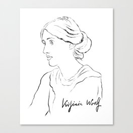 Virginia Woolf Portrait with Signature Canvas Print