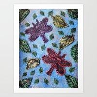 Dragonflies in Flight Art Print
