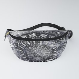 Galaxy Space Mandala (Black and White & Gray Scale) Mystical Adventurous Fanny Pack