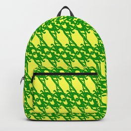 Braided diagonal pattern of wire and green arrows on a yellow background. Backpack