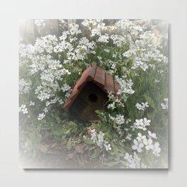 Wooden Birdhouse Amidst White Flowers Summer Garden Metal Print