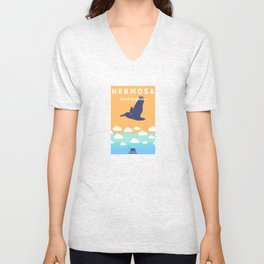 Hermosa Beach.  Unisex V-Neck