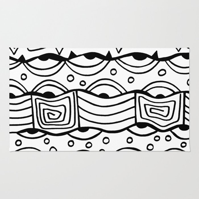 Wavy Tribal Lines with Shapes - Doodle Drawing Rug