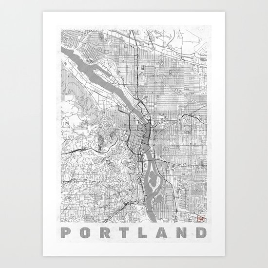 Portland City Map Line Art Print