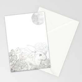 rabbit flower and moon Stationery Cards