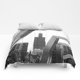 Sears Tower Sculpture Chicago Illinois Black and White Photo Comforters