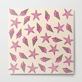 Girly Pink Summer Starfish and Ice Cream Cones Metal Print