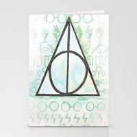 deathly hallows Stationery Cards featuring Deathly Hallows by Carmen McCormick