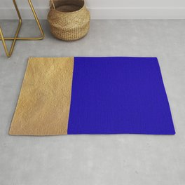 Color Blocked Gold & Cerulean Rug