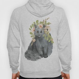 cat with flower crown Hoody