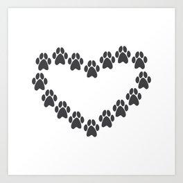 Paw Prints Heart Art Print