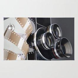 Retro mechanical movie camera and reel film Rug