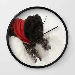 Briard in the Snow Wall Clock