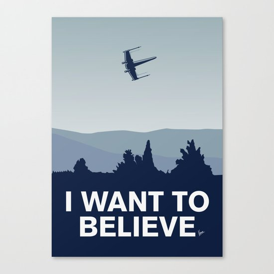 My I want to believe minimal poster-xwing Canvas Print