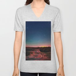 Bisti Badlands Hoodoos Under New Mexico Stary Night Unisex V-Neck