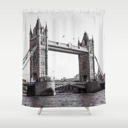 London Bridge Black & White Shower Curtain