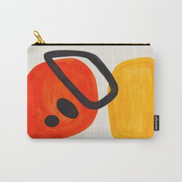 Colorful Mid Century Modern Abstract Fun Shapes Patterns Space Age Orange Yellow Orbit Bubbles Carry-All Pouch